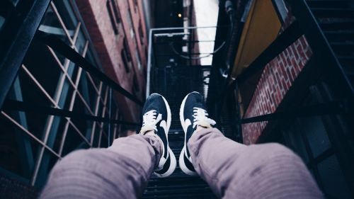 Blue sneakers HD Wallpaper