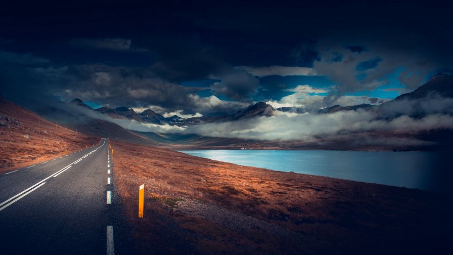 Cloudy day on the road HD Wallpaper