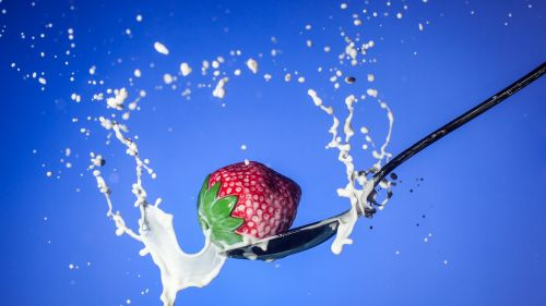 Milk With Strawberry Free Hd Wallpaper for Desktop and Mobiles