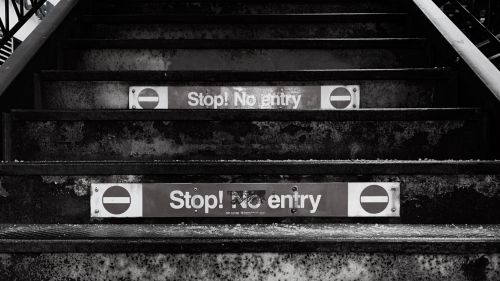 Sign on stairs HD Wallpaper