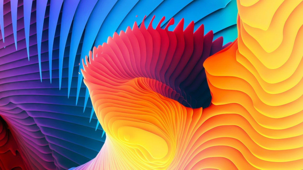3D Fluid Spiral Waves Wallpaper For Desktop & Mobile