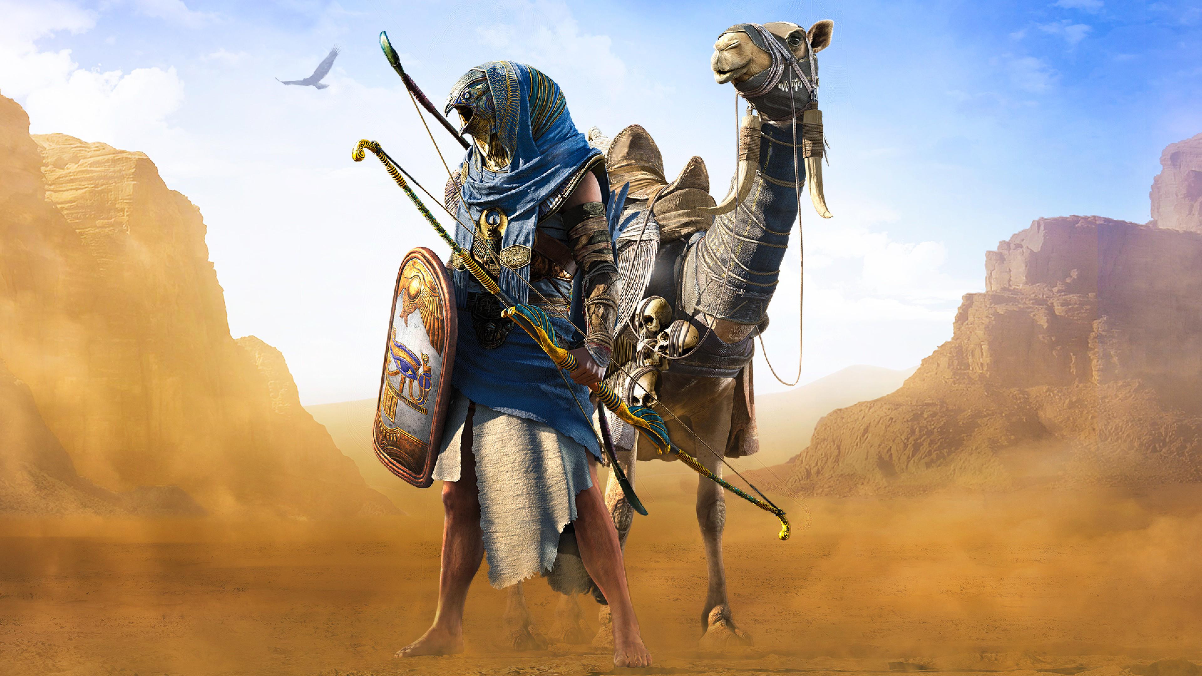 assassins creed origins logo wallpaper 4k