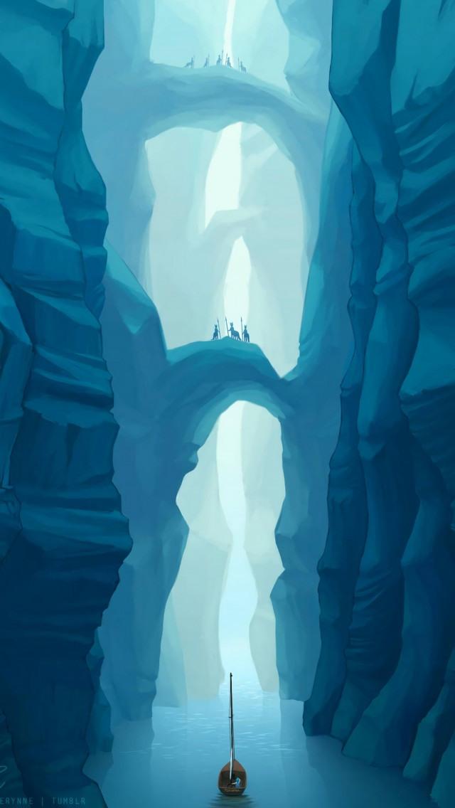 Boat Sailing Through Cave Hd Wallpaper Iphone 5 5s Ipod