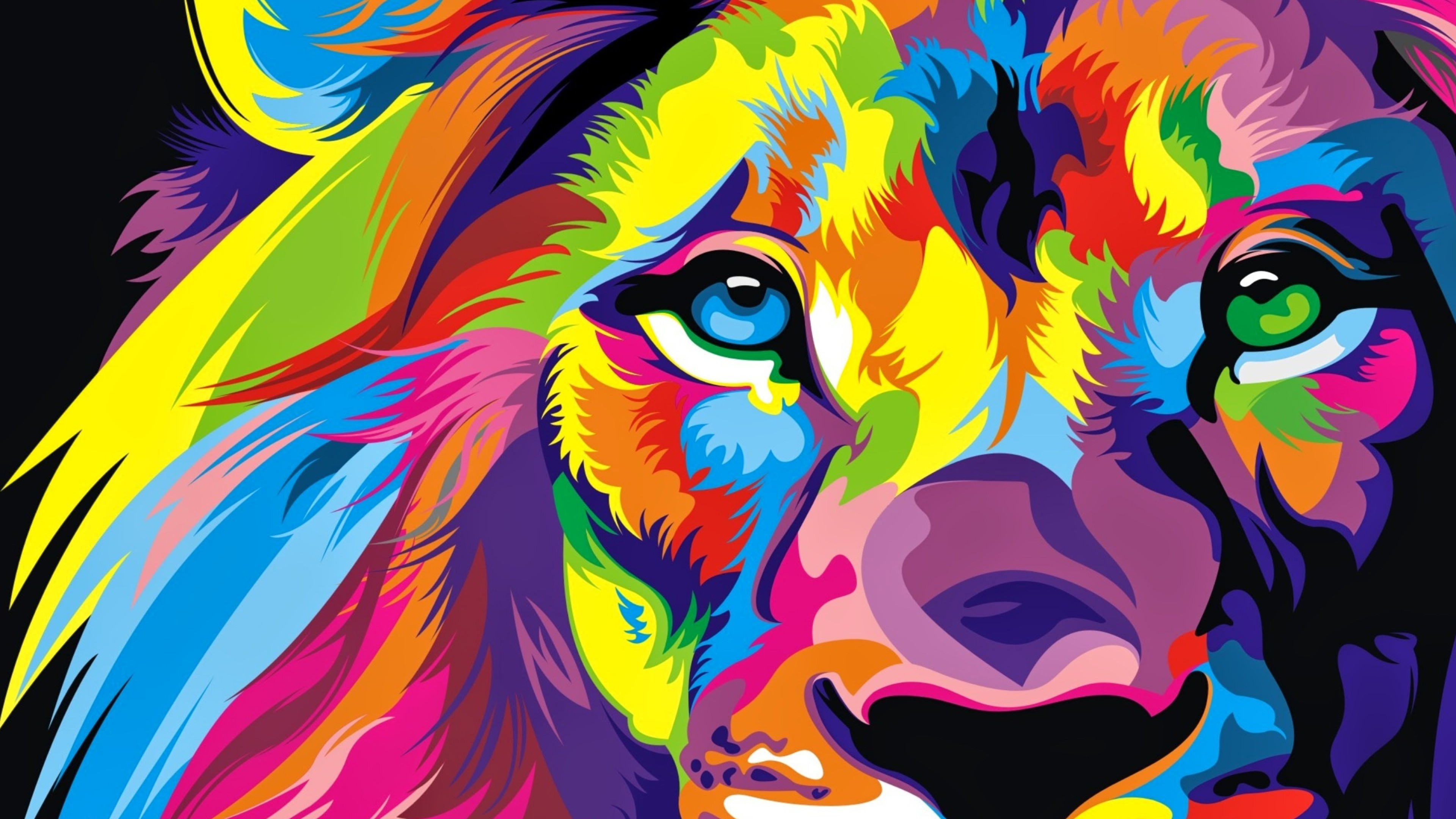 Download Full Hd Colourful Lion Artwork Wallpaper 4k Ultra Hd Hd