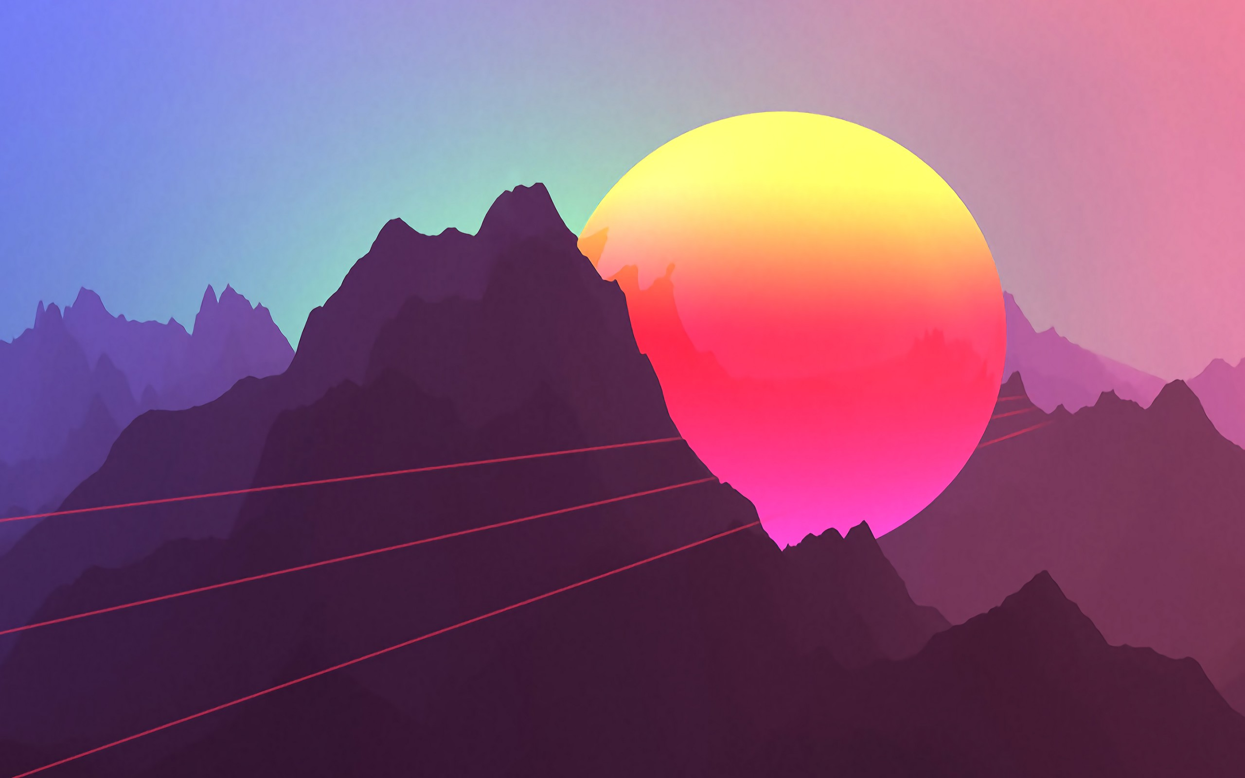 "neon sunset mountains 13"" retina macbook pro - hd wallpaper"