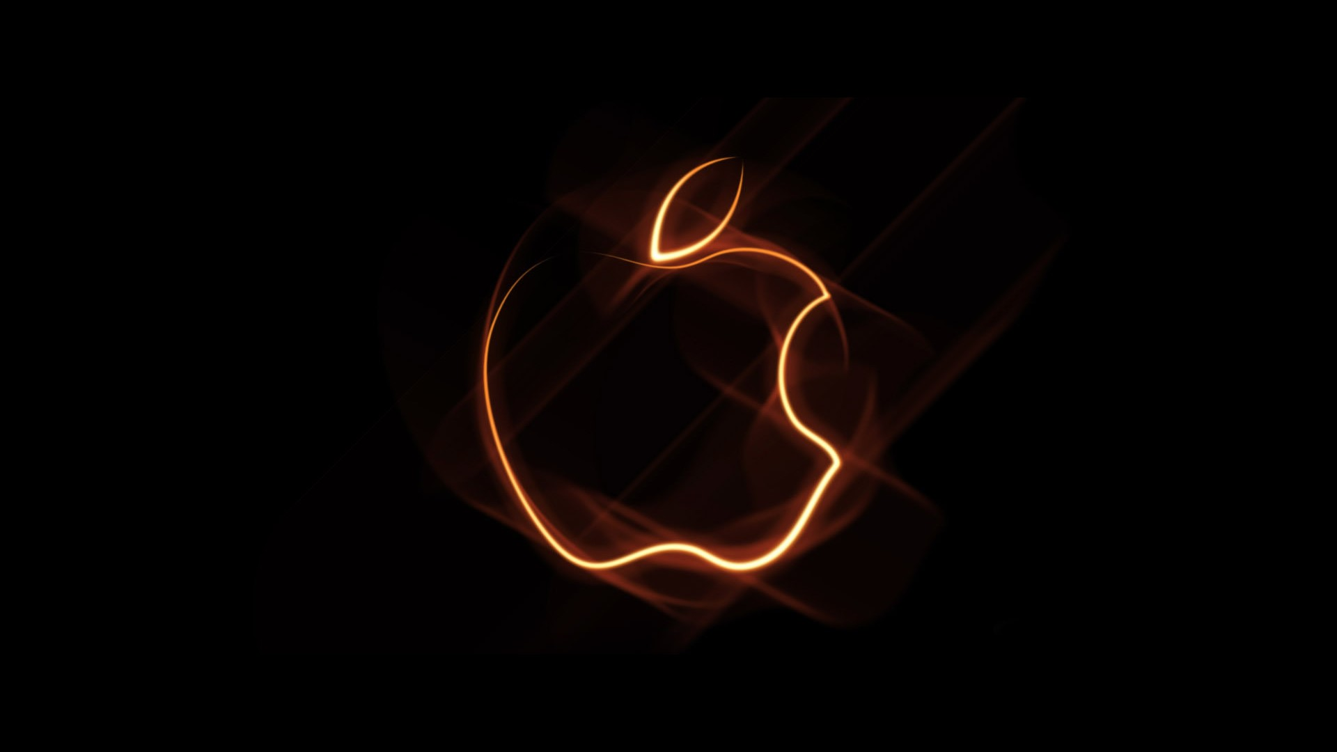 Orange Outline Apple Logo Wallpaper For Desktop And Mobiles Iphone 7