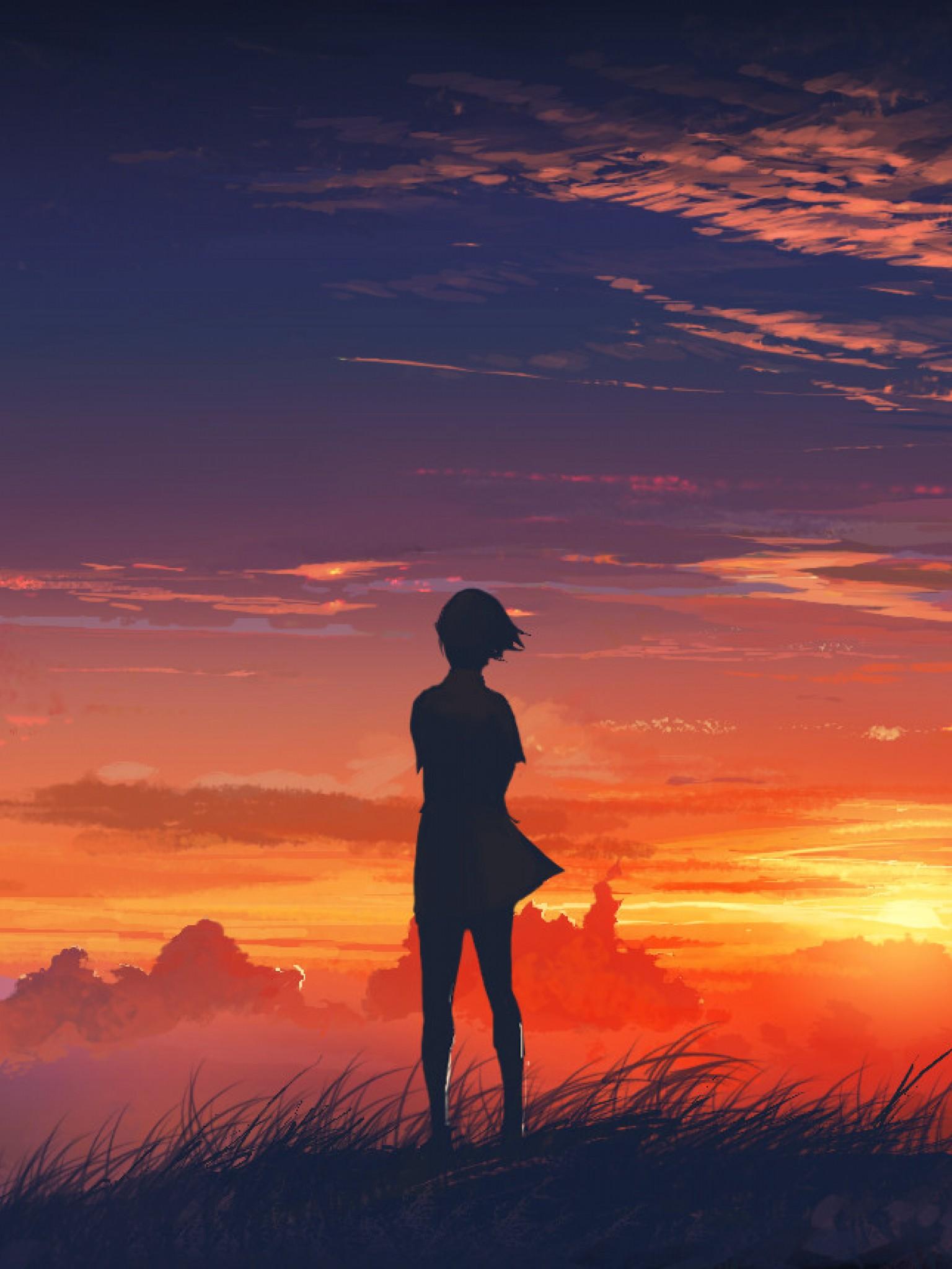Sunset anime girl HD Wallpaper Retina iPad - HD Wallpaper ...