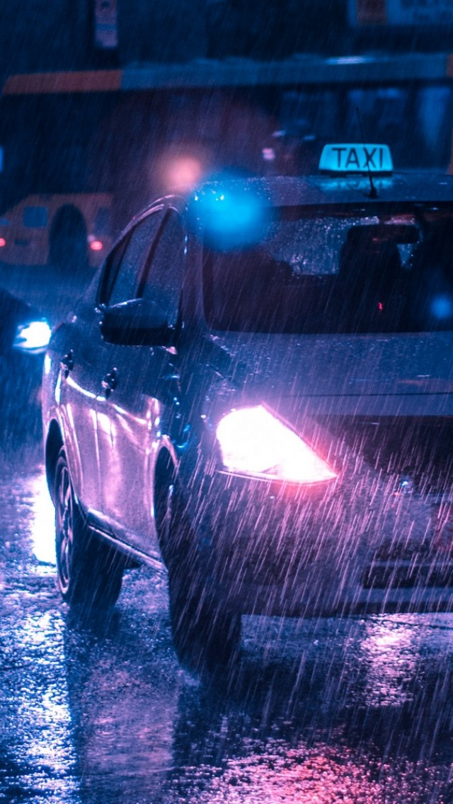 Taxi In A Rainy Day Hd Wallpaper Iphone 5 5s Ipod Hd