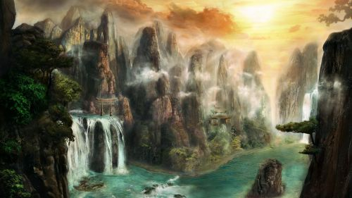 Amazing fantasy waterfalls HD Wallpaper