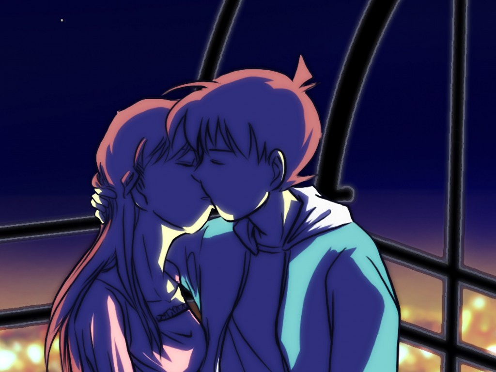 Anime cartoon couple kiss each other HD Wallpaper