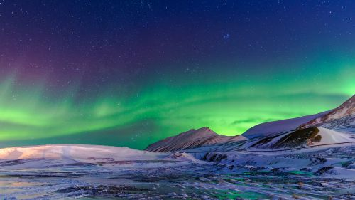 Aurora Borealis and Snowy Mountains
