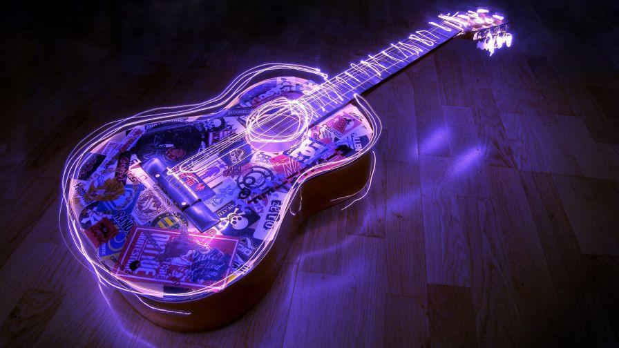 Beautiful Purple Lit Guitar Hd Wallpaper For Desktop And Mobiles