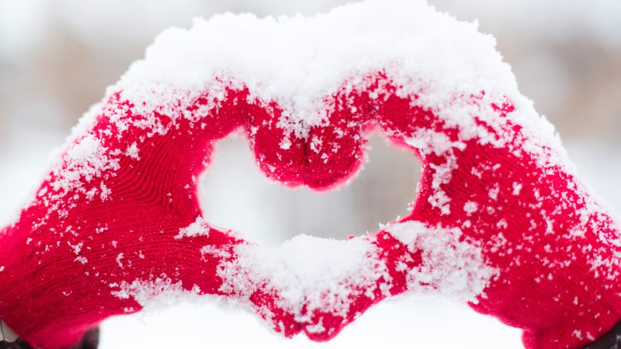Beautiful Snow Heart Wallpaper for Desktop and Mobiles