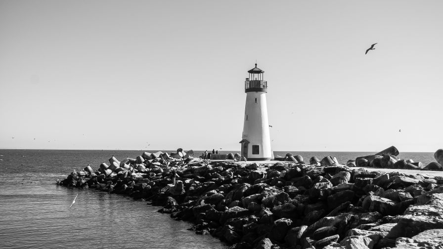 Black and White Lighthouse Wallpaper for Desktop and Mobiles