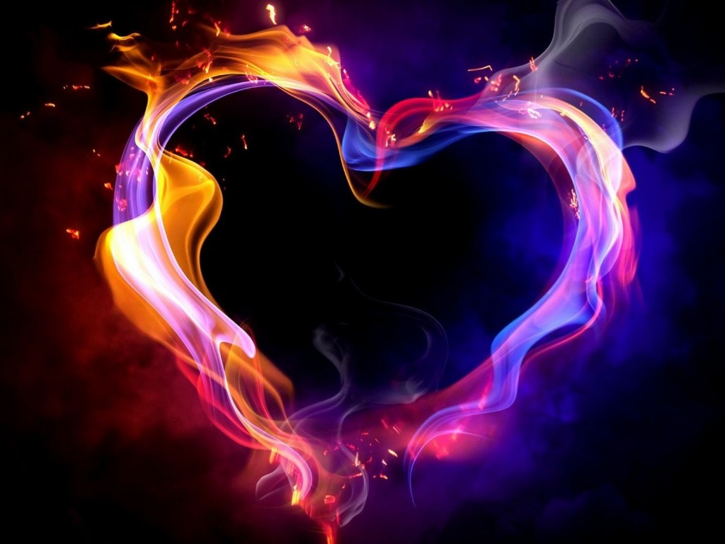 Burning Heart Colorful Wallpaper for Desktop and Mobiles