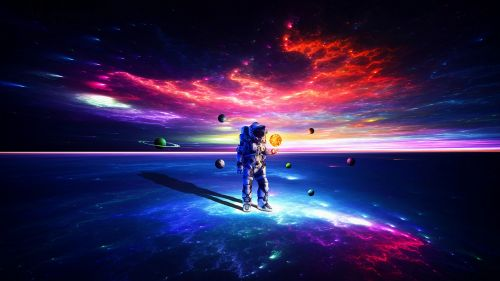 Cosmonaut walking on planets HD Wallpaper