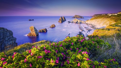 Costa Quebrada Cantabria Spain Coast Wallpaper