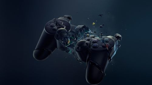 Crashed Playstation gamepad HD Wallpaper