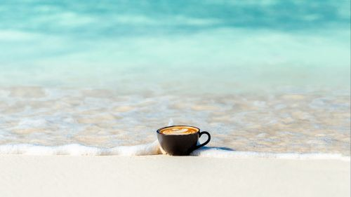 Cup of coffee at the coast HD Wallpaper