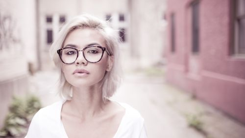 Cute Bespectacled Blonde 4K Hd Wallpaper for Desktop and Mobiles