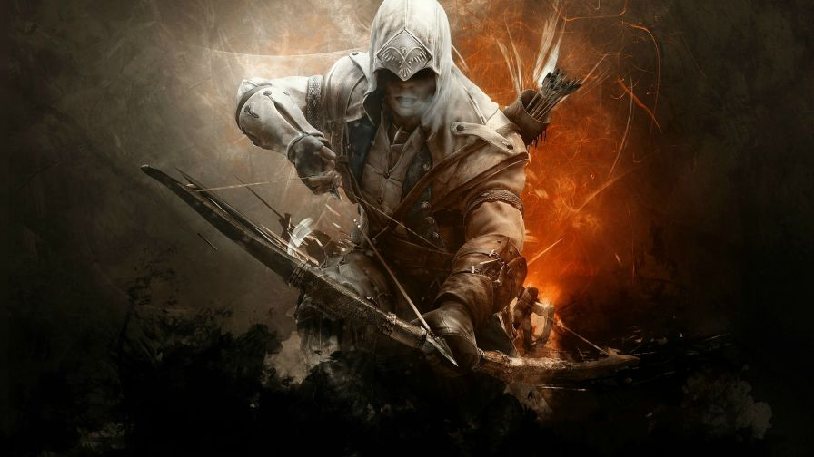 Download Assassins Creed Connor Bow Full Hd Wallpaper for Desktop and Mobiles