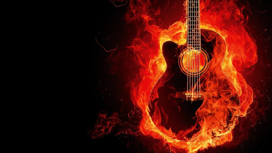 Download Fire Guitar Full Hd Wallpaper for Desktop and Mobiles