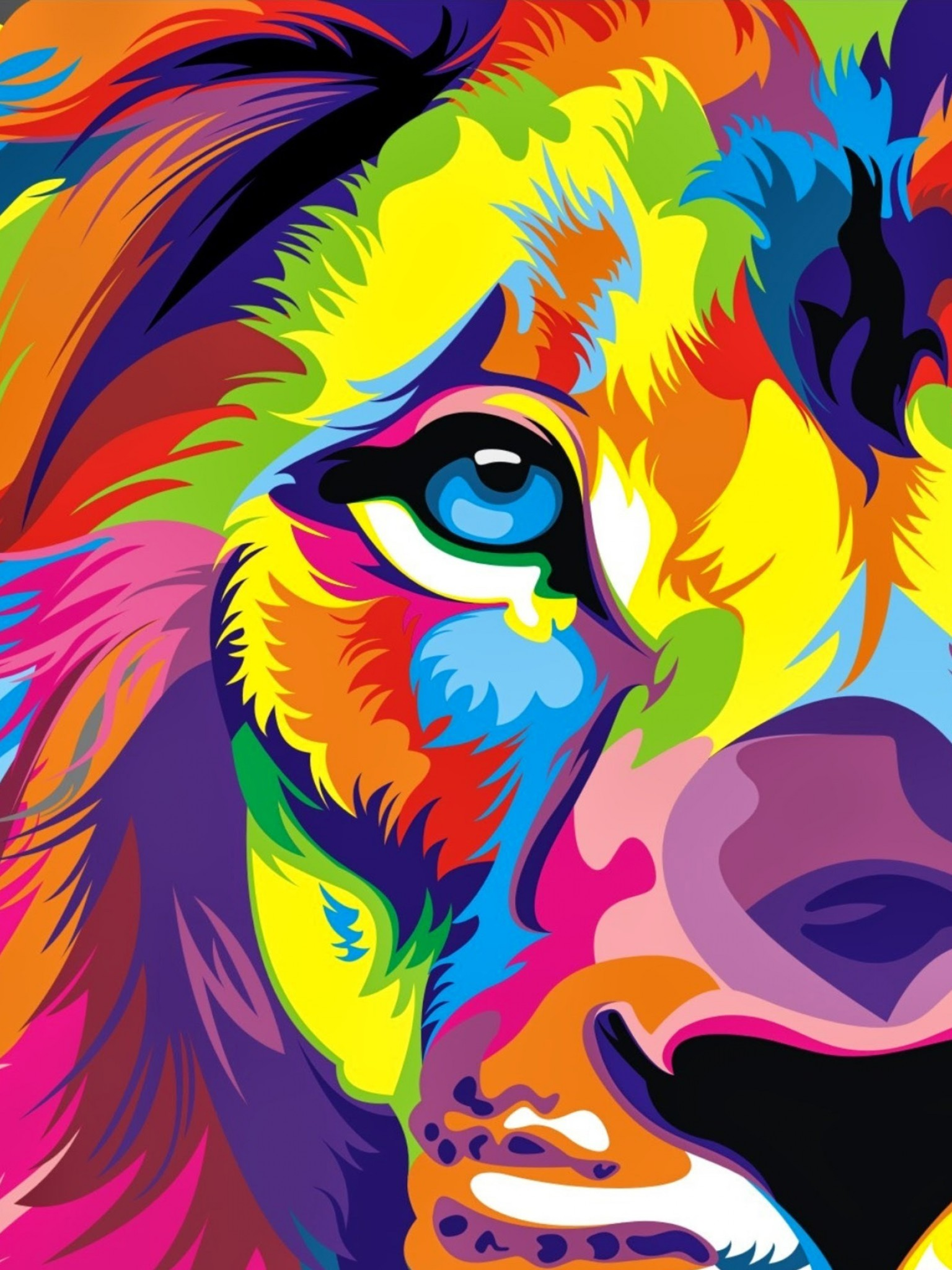 download full hd colourful lion artwork wallpaper retina