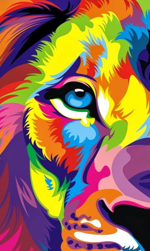 Download Full HD Colourful Lion Artwork Wallpaper