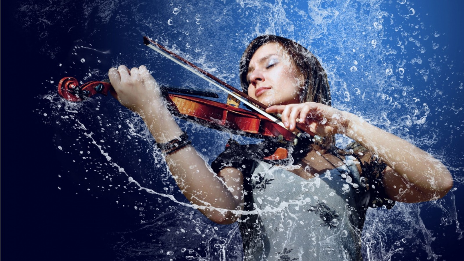 Download Girl Playing Violin In Water Hd Wallpaper for Desktop and Mobiles