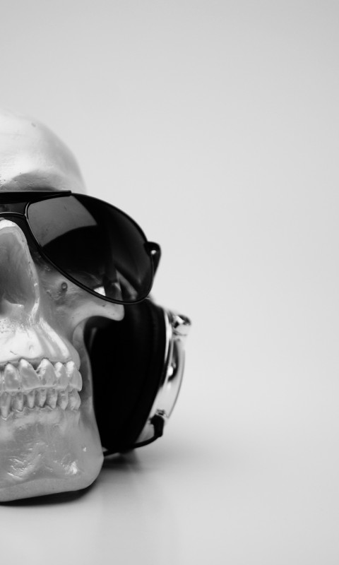 Download Skull & Headphones Black & White Hd Wallpaper for Desktop and Mobiles