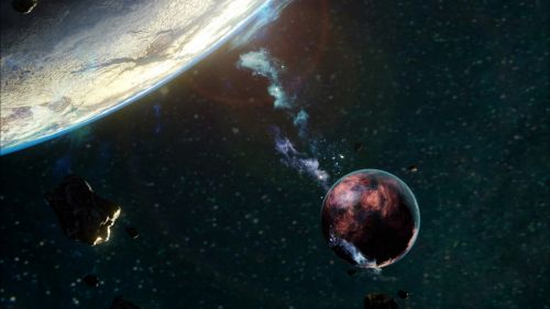 Falling asteroids HD Wallpaper