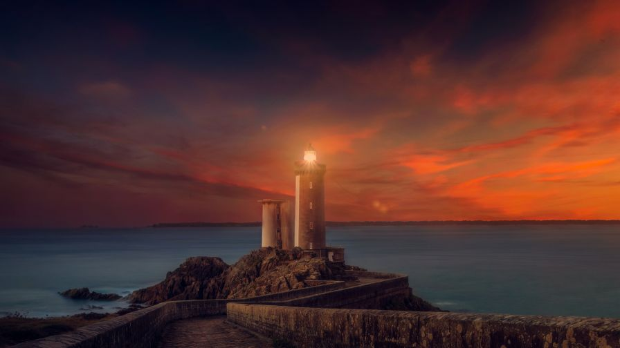 Free Sunset Lighthouse Wallpaper for Desktop and Mobiles