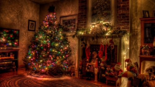 House Christmas decoration HD Wallpaper