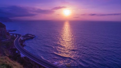 Lilac sea sunset HD Wallpaper