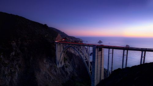 Long bridge on a cliff HD Wallpaper