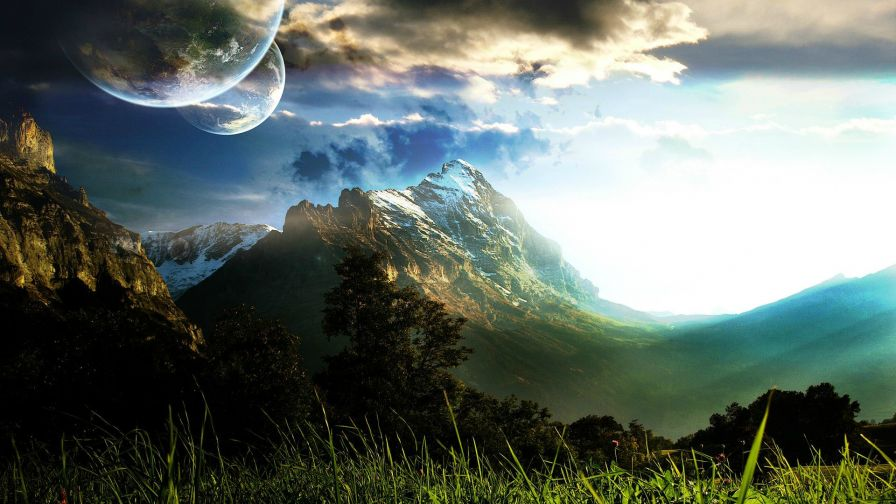 Mountains And Planets 4K Hd Wallpaper for Desktop and Mobiles