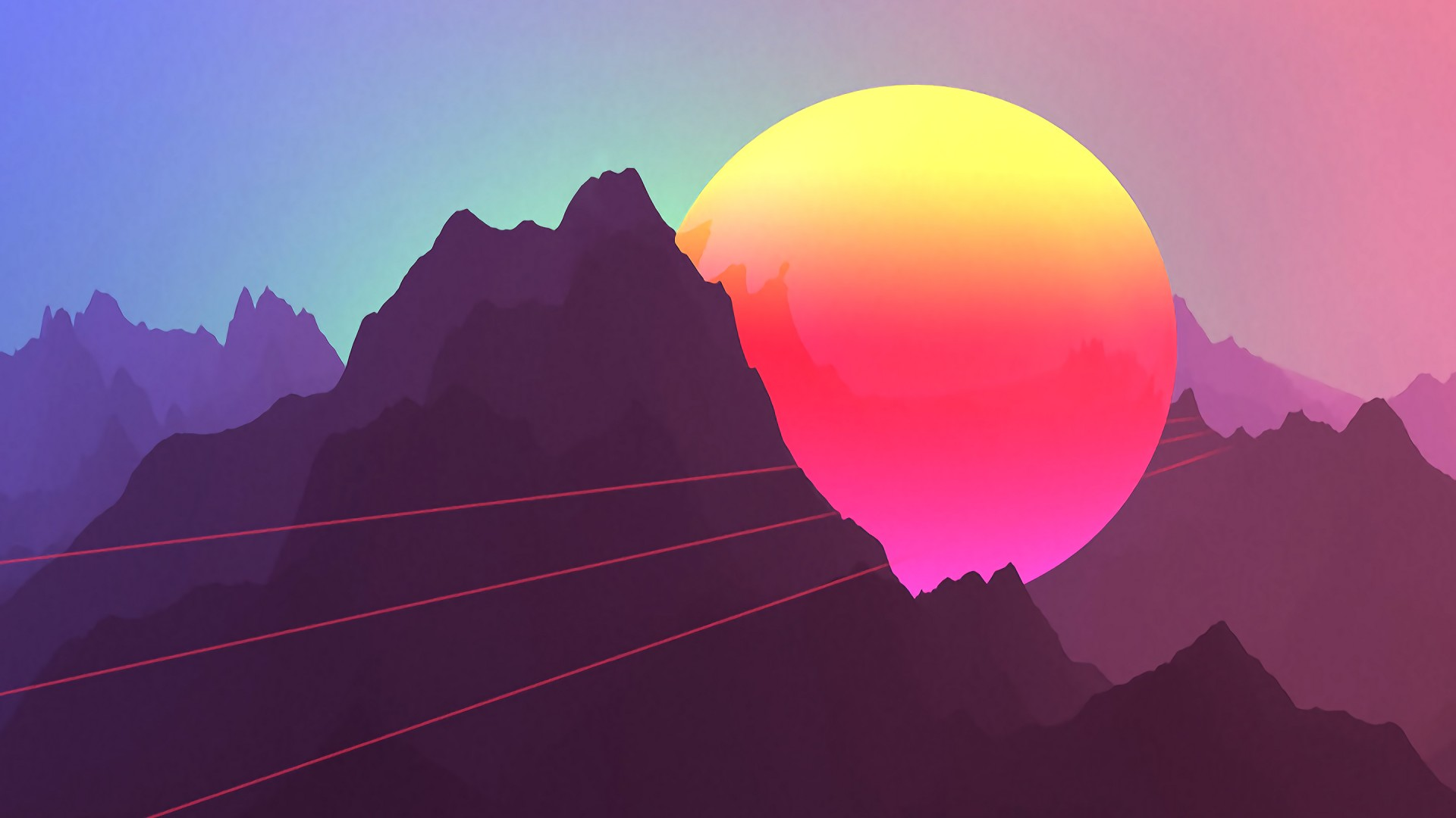 Neon Sunset Mountains iPhone 7 Plus / iPhone 8 Plus - HD ...