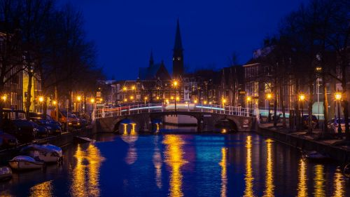 Netherlands bridge at niight HD Wallpaper