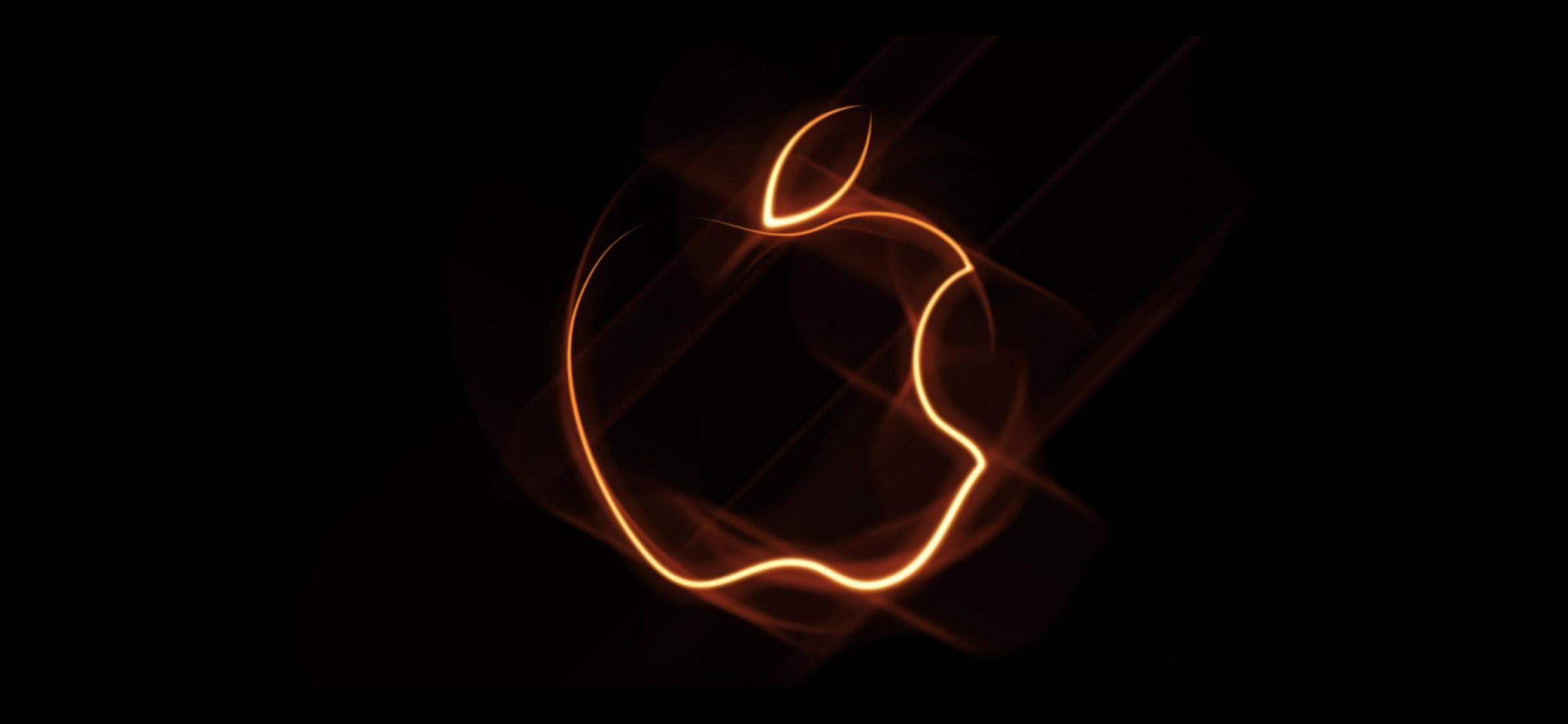 Orange Outline Apple Logo Wallpaper For Desktop And