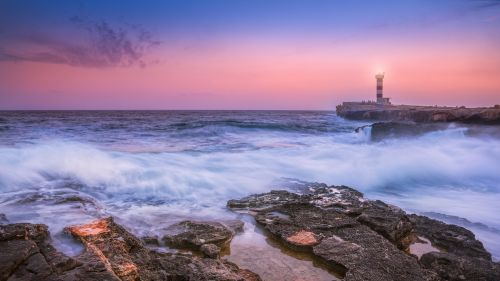 Sunset at the lighthouse HD Wallpaper