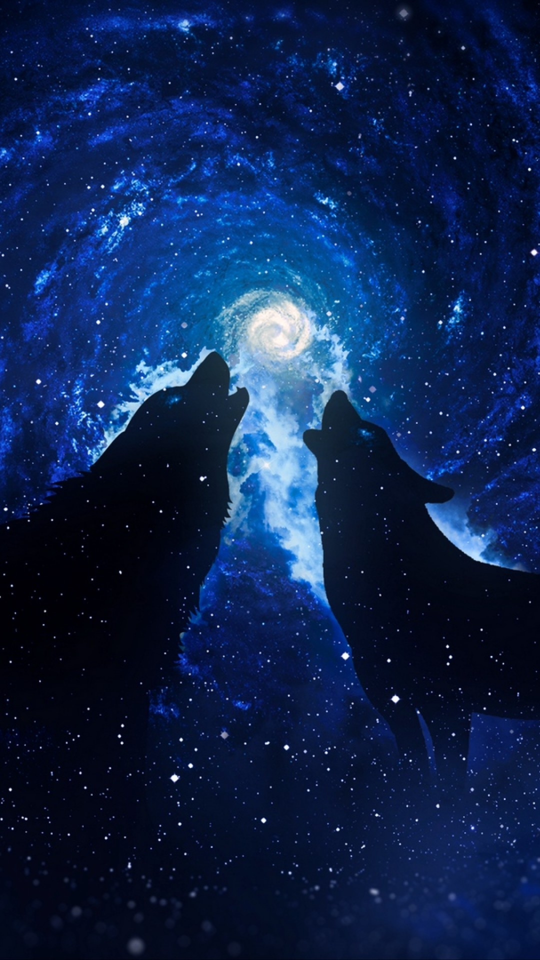 Wolves Under A Starry Sky Hd Wallpaper Iphone 6 6s Plus